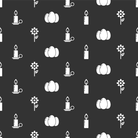 Set Burning candle, Flower, Burning candle in candlestick and Easter eggs on seamless pattern. Vector. 版權商用圖片 - 148078374