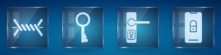 Set Barbed wire, Old key, Door handle and Mobile with closed padlock. Square glass panels. Vector. Illustration