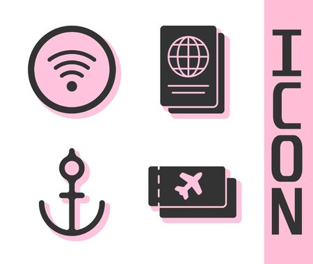 Set Airline ticket, WiFi wireless internet network, Anchor and Passport icon. Vector