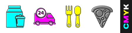 Set Online ordering and delivery, Fast delivery by car, Fork and spoon and Slice of pizza icon. Vector.
