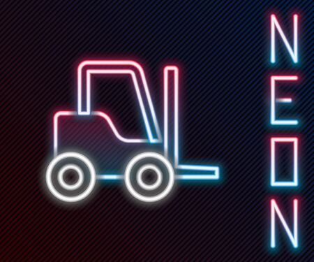 Glowing neon line Forklift truck icon isolated on black background. Fork loader and cardboard box. Cargo delivery, shipping, transportation. Colorful outline concept. Vector Illustration