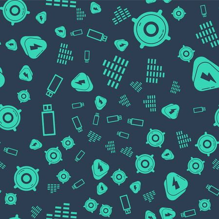 Set Music equalizer, Stereo speaker, USB flash drive and Guitar pick on seamless pattern. Vector