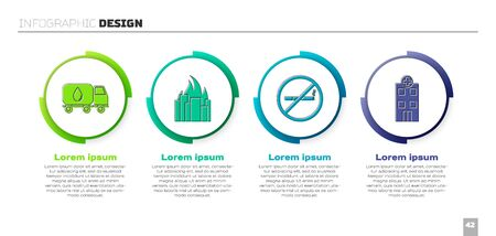 Set Water delivery truck, Fire in burning buildings, No Smoking and Medical hospital building. Business infographic template. Vector Illustration