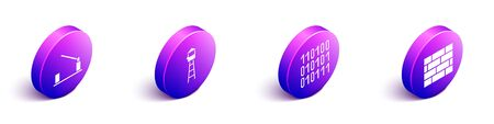 Set Isometric Parking car barrier, Watch tower, Binary code and Bricks icon. Vector