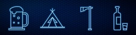Set line Tomahawk axe, Wooden beer mug, Indian teepee or wigwam, Whiskey bottle and glass and Wild west covered wagon. Glowing neon icon on brick wall. Vector