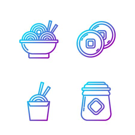 Set line Jar of honey, Asian noodles in paper box and chopsticks, Asian noodles in bowl and Chinese Yuan currency. Gradient color icons. Vector 일러스트