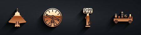Set Jet fighter, Compass, Aircraft steering helm and Airport luggage towing truck icon with long shadow. Vector
