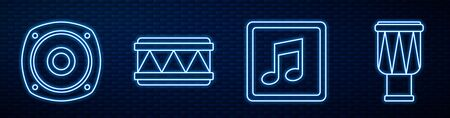 Set line Music note, tone, Stereo speaker, Drum, Drum and Music synthesizer. Glowing neon icon on brick wall. Vector