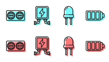 Set line Light emitting diode, Electrical outlet, Electric transformer and Battery charge level indicator icon. Vector