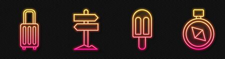 Set line Ice cream, Suitcase, Road traffic signpost and Compass. Glowing neon icon. Vector