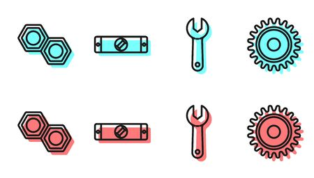 Set line Wrench spanner, Hexagonal metal nut, Construction bubble level and Circular saw blade icon. Vector