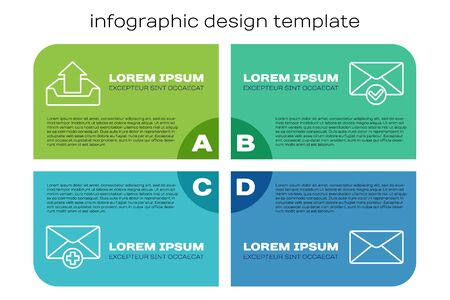 Set line Received message concept, Upload inbox, Envelope and Envelope and check mark. Business infographic template. Vector