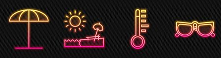Set line Meteorology thermometer, Sun protective umbrella for beach, Beach with umbrella and chair and Glasses. Glowing neon icon. Vector