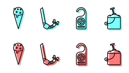 Set line Please do not disturb, Ice cream in waffle cone, Snorkel and Sand in bucket with shovel icon. Vector