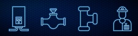 Set line Industry metallic pipe, Gas boiler with a burning fire, Industry pipe and valve and Plumber. Glowing neon icon on brick wall. Vector