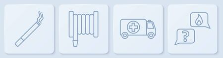Set line Cigarette, Ambulance and emergency car, Fire hose reel and Phone with emergency call 911. White square button. Vector
