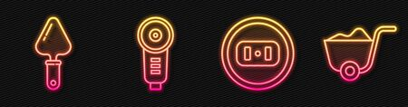 Set line Electrical outlet, Trowel, Angle grinder and Shovel. Glowing neon icon. Vector.
