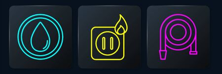Set line Water drop, Fire hose reel and Electric wiring of socket in fire. Black square button. Vector Vettoriali