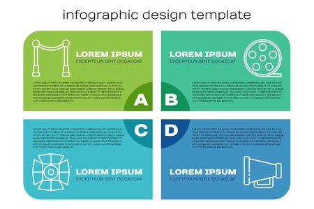 Set line Movie spotlight, Carpet with barriers, Megaphone and Film reel. Business infographic template. Vector