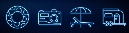 Set line Sunbed and umbrella, Rubber swimming ring, Photo camera, Rv Camping trailer and Glasses. Glowing neon icon on brick wall. Vector. Vectores