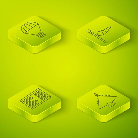 Set Isometric Cone meteorology windsock wind vane, Airport board, Jet fighter and Box flying on parachute icon. Vector. Vettoriali