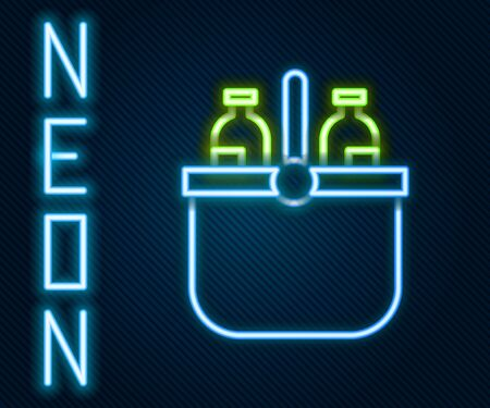 Glowing neon line Cooler bag and water icon isolated on black background. Portable freezer bag. Handheld refrigerator. Colorful outline concept. Vector Illustration