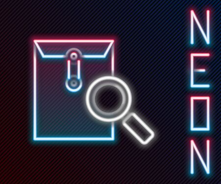 Glowing neon line Envelope mail with magnifying glass icon isolated on black background. Colorful outline concept. Vector Illustration