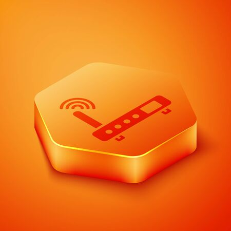 Isometric Router and wi-fi signal icon isolated on orange background. Wireless ethernet modem router. Computer technology internet. Orange hexagon button. Vector Illustration  イラスト・ベクター素材