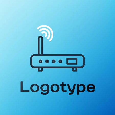 Line Router and wi-fi signal icon isolated on blue background. Wireless ethernet modem router. Computer technology internet. Colorful outline concept. Vector Illustration.