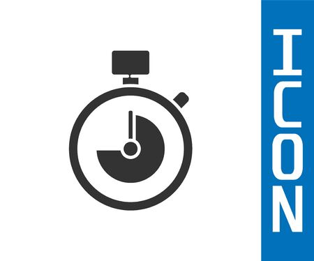 Grey Stopwatch icon isolated on white background. Time timer sign. Chronometer sign. Vector Illustration.