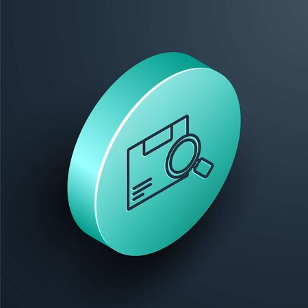 Isometric line Search package icon isolated on black background. Parcel tracking. Magnifying glass and cardboard box. Logistic and delivery. Turquoise circle button. Vector Illustration