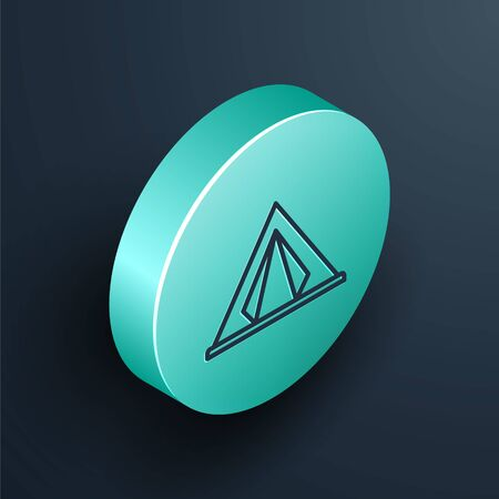 Isometric line Tourist tent icon isolated on black background. Camping symbol. Turquoise circle button. Vector Illustration