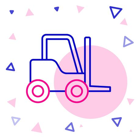Line Forklift truck icon isolated on white background. Fork loader and cardboard box. Cargo delivery, shipping, transportation. Colorful outline concept. Vector Illustration