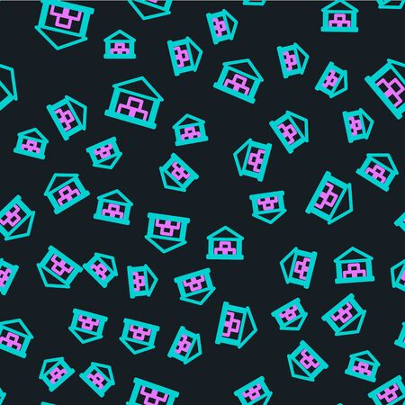 Line Warehouse icon isolated seamless pattern on black background. Vector Illustration