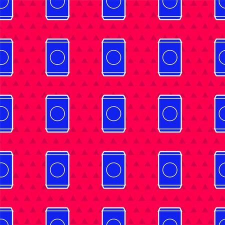 Blue Soda can with drinking straw icon isolated seamless pattern on red background. Vector Illustration