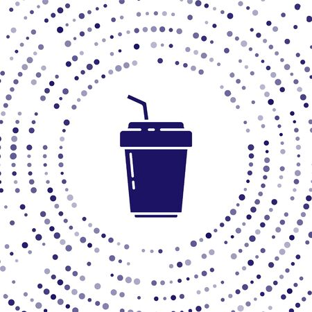 Blue Coffee cup to go icon isolated on white background. Abstract circle random dots. Vector Illustration