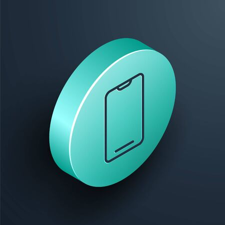 Isometric line Smartphone, mobile phone icon isolated on black background. Turquoise circle button. Vector Illustration. Vettoriali