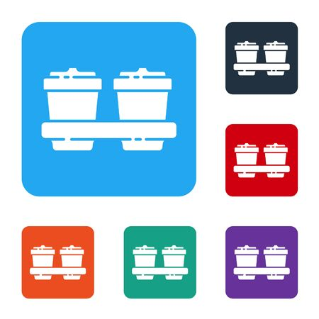 White Coffee cup to go icon isolated on white background. Set icons in color square buttons. Vector Illustration Çizim