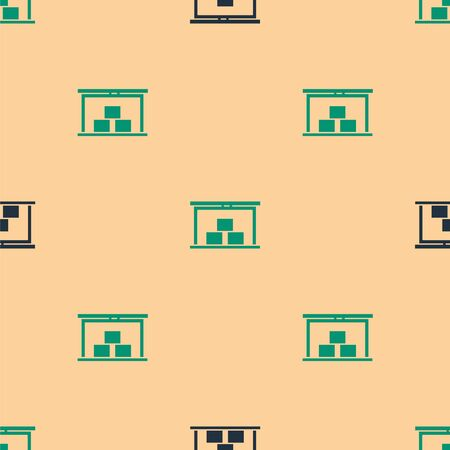 Green and black Warehouse icon isolated seamless pattern on beige background. Vector Illustration. Ilustracja