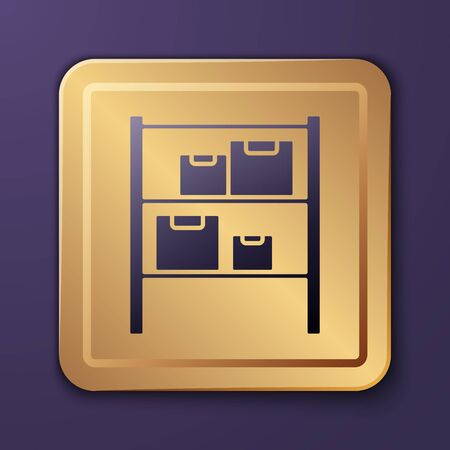 Purple Warehouse icon isolated on purple background. Gold square button. Vector Illustration.