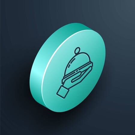 Isometric line Covered with a tray of food icon isolated on black background. Tray and lid sign. Restaurant cloche with lid. Turquoise circle button. Vector Illustration