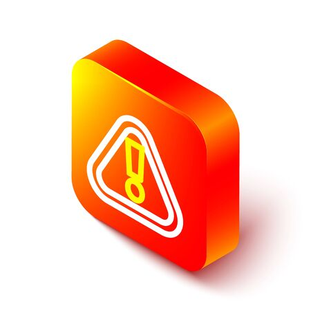 Isometric line Exclamation mark in triangle icon isolated on white background. Hazard warning sign, careful, attention, danger warning important. Orange square button. Vector Illustration.  イラスト・ベクター素材