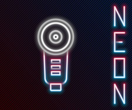 Glowing neon line Angle grinder icon isolated on black background. Colorful outline concept. Vector Illustration Illustration
