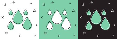 Set Water drop icon isolated on white and green, black background. Vector Illustration Stok Fotoğraf - 149351270