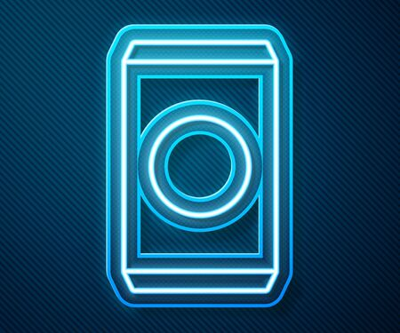 Glowing neon line Soda can with drinking straw icon isolated on blue background. Vector Illustration
