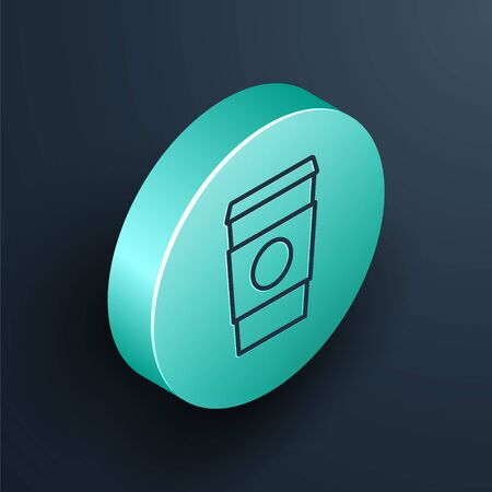 Isometric line Coffee cup to go icon isolated on black background. Turquoise circle button. Vector Illustration