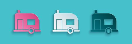Paper cut Rv Camping trailer icon isolated on blue background. Travel mobile home, caravan, home camper for travel. Paper art style. Vector Illustration.