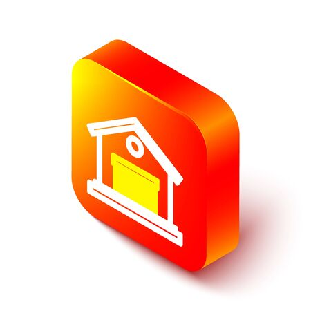 Isometric line Warehouse icon isolated on white background. Orange square button. Vector Illustration.