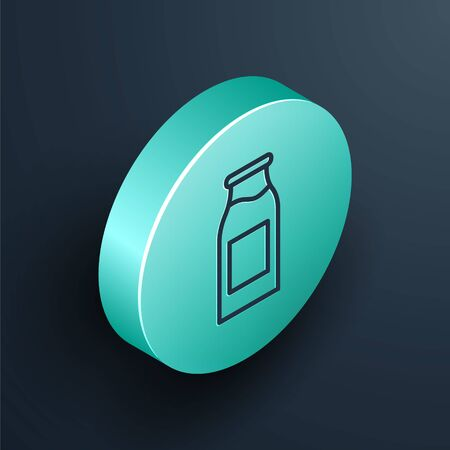 Isometric line Closed glass bottle with milk icon isolated on black background. Turquoise circle button. Vector Illustration.