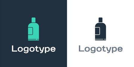 Logotype Bottle of shampoo icon isolated on white background. Logo design template element. Vector Illustration